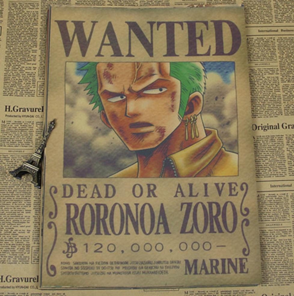 Poster wanted de roronoa zoro mugiwara shop - Affiche one piece wanted ...